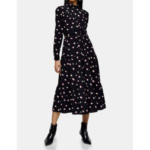 Topshop Black Spot Tiered Midi Shirt Dress Size 10